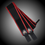"BANDES DE POIGNETS METAL ""BLACK N' RED"""